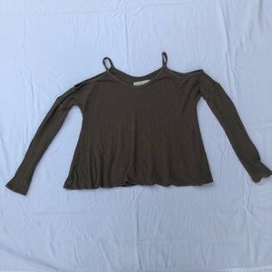 Woman's green cold shoulder swing top